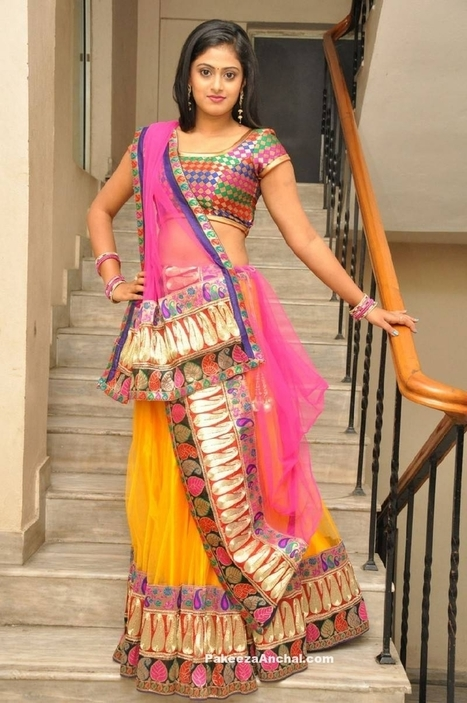 Actress Megha Sri in Heavy Patch work Netted Lehenga with Backless Blouse | Indian Fashion Updates | Scoop.it