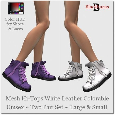 Mesh Hi-Tops White Leather Colorable by Vlad Blackburn | Teleport Hub - Second Life Freebies | Second Life Freebies | Scoop.it