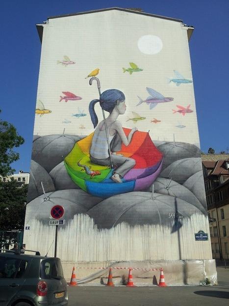 New Umbrella Mural by Seth in Paris #art #streetart #graffiti #mural #publicart | Luby Art | Scoop.it