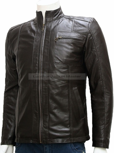 Magnificent Band Collar Fashion Brown Leather Jacket for Men - Sylvain | leather Craze | Scoop.it
