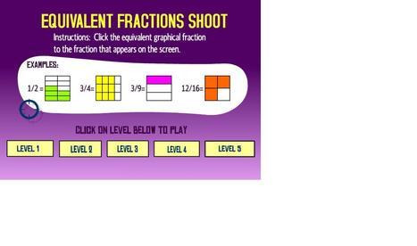 Math Games: Equivalent Fractions Shoot | sjm fractions | Scoop.it