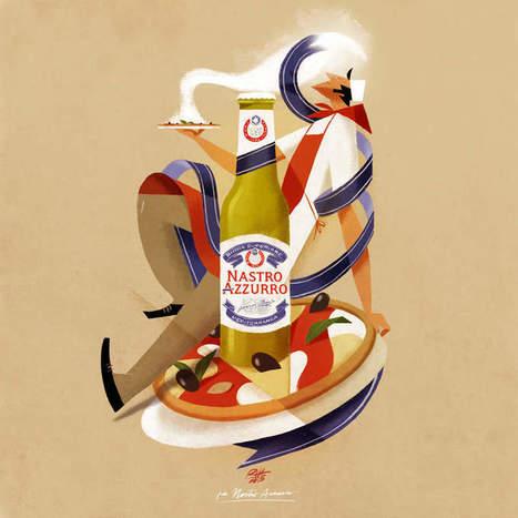 Riccardo Guasco X Peroni : des illustrations ornées de bières précieuses - Communication (Agro)alimentaire | Communication Agroalimentaire | Scoop.it