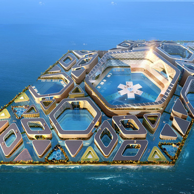 Floating City concept by AT Design Office features underwater roads | bureau : espace innovant | Scoop.it