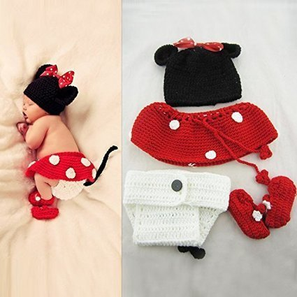 Elonbo TM Cute Unisex Newborn Boy Girl Crochet Knitted Animal Style Baby Outfits Costume Set Photography Photo Prop (Red&White&Black) | Wilson Jeriff Scoop | Scoop.it