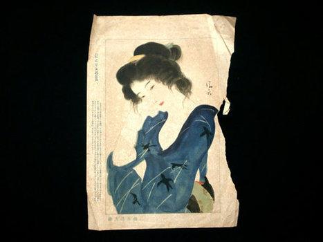 Woman Vintage Japanese Print Geisha Oriki from Nigorie a novel written by Ichiyō Higuchi Ukiyo-e Print by Kaburaki Kiyotaka 1878-1972   Etsy Today   Scoop.it