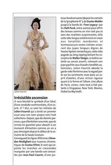 Article Julien Fournié paru dans Le Carnet Parisien distribué aux défilés du Mercredi 3 juillet | FashionLab | Scoop.it