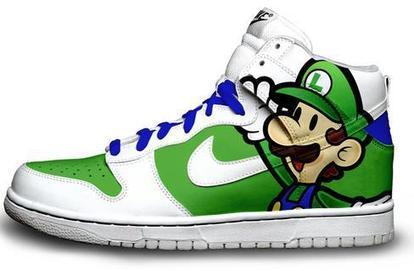 Luigi Bros Nikes Cartoon Dunk High Luigi Bros Shoes / Nike Dunks luigi Shoes | Hello Kitty Nike Dunks | Scoop.it