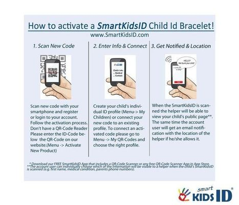 www.SmartKidsID.com   Keep your kids safe with child Id and medical Id bracelets using QR Codes!   Scoop.it