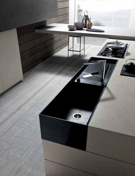 Surprising, Industrial Chic Twenty Cemento Kitchen from Modulnova: Dining Room   design industriel   Scoop.it