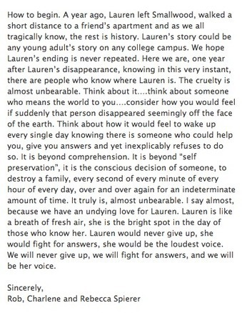 @NewsOnLaurenS Twitter Feed: A message from the Spierer family, #1YearLater | Lauren Spierer | Scoop.it