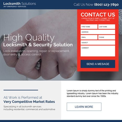 locksmith and security solutions clean landing page | converting and effective landing page designs | Scoop.it