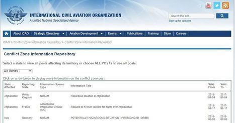 ICAO amends procedures relating to international conflict zone repository | GBJ Aviation and Insurance News | Scoop.it