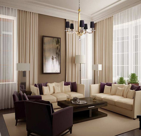 Earth-toned Living Room with Casual but Elegant Chandelier | Simple Decorating Ideas For Home | Scoop.it