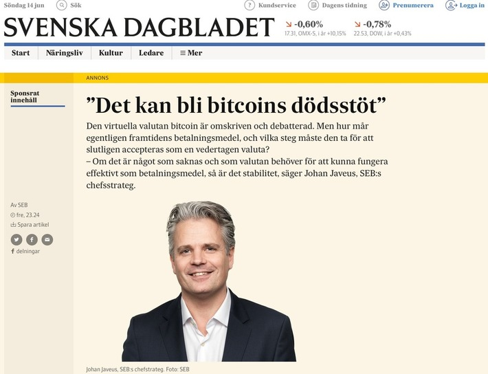 Sweden's 3rd Largest Bank Pay For Full Page Bitcoin Ad in Swedish Daily - CryptoCoinsNews | money money money | Scoop.it