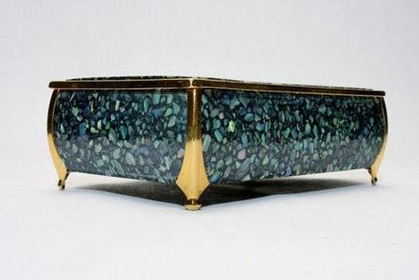Modern Paua Shell Cast Resin Dresser Box w Gold Tone Details from New Zealand Vintage 1970s Era Decor Jewelry or Cigarette Covered Case   S U B L I M E * D E S I G N   Scoop.it
