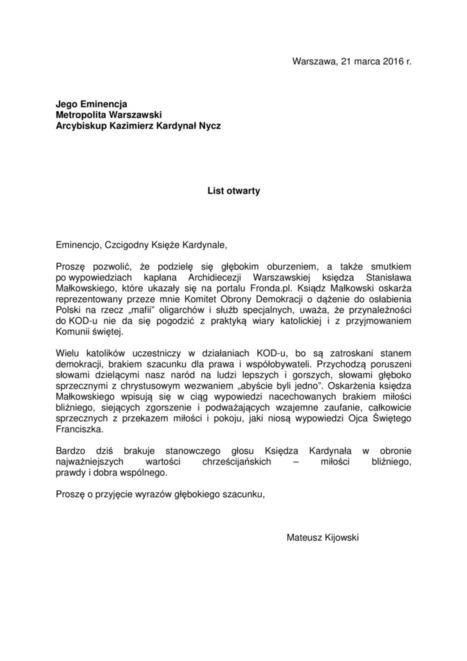 List otwarty Mateusza Kijowskiego do abp. Kazimierza Kardynała Nycza w sprawie wypowiedzi ks. Stanisława Małkowskiego | Znalezione w Sieci | Scoop.it
