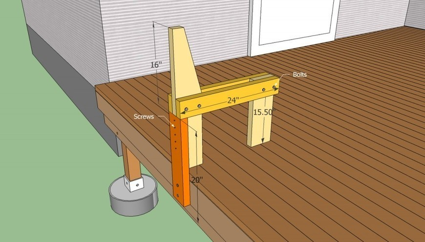 Deck bench plans free howtospecialist how t for Basic deck building instructions