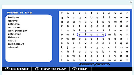 Wordsearch '-ieve' game | Sites that help our spelling | Scoop.it