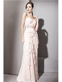 $ 414.99 Sweet A-line One Shoulder Beading Floor-length Evening Dress | Fashion ladies | Scoop.it