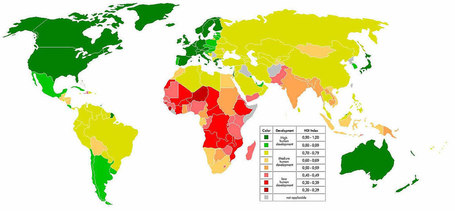 Nations Online :: Worldmap of Human Development Index (HDI) - Nations Online Project | IB Part 1: Populations in Transition | Scoop.it