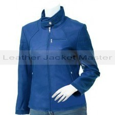Ladies Lovely High Ban Collar Blue Leather Jacket - Sageta | leather Craze | Scoop.it