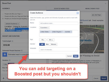 Boosted Posts on Facebook: When You Shouldn't Use Them - Andrea Vahl | Social Media Marketing Superstars | Scoop.it