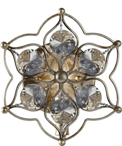 """Feiss 8""""w Leila 1-Light Wall Sconce Burnished Silver 