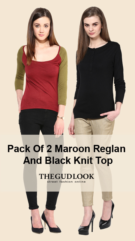 Pack# of 2 Maroon# Reglan# And # Black# Kint# Top# www.thegudlook.com | Street Fashion is what thegudlook.com promises to bring to you Online every day week after week. | Scoop.it