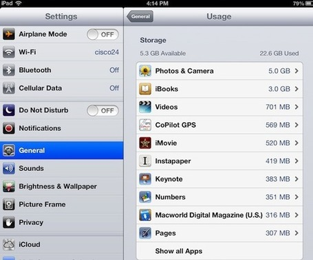 How to Find Content Taking Up the Most Space on Your iPad | iPad Academy | SFSD iPad Scoop | Scoop.it