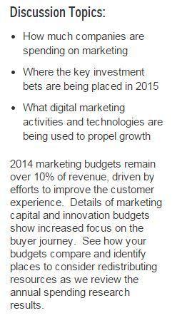 Gartner Webinar: CMO Spending 2014 - 2015:  Eye on the Buyer | tech | Scoop.it