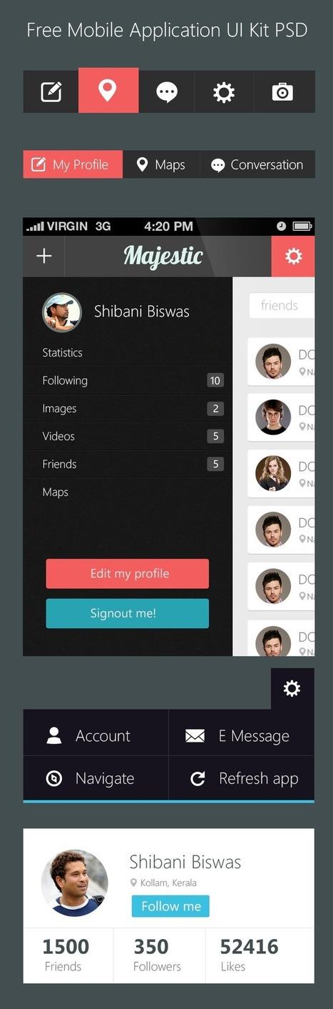 Free Mobile Application UI Kit PSD - Freebie No: 95 | UI Design PSD | Scoop.it