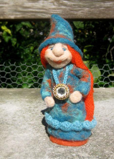 OOAK Fiber sculpture art doll, needle felted fairy, fantasy figure, lady gnome | Needle felting art by Green Dot Creations' Studio! | Scoop.it