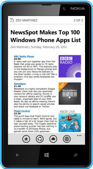 NewsSpot for Windows Phone 8 Brings Full-Featured Google Reader Experience | RSS Circus : veille stratégique, intelligence économique, curation, publication, Web 2.0 | Scoop.it