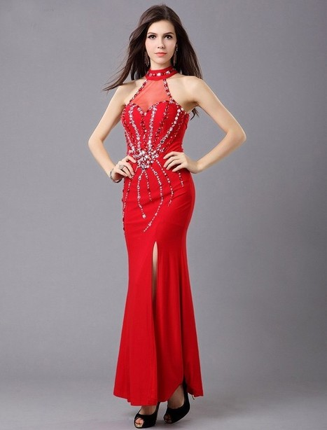 Sheath Column Jewel Floor Length Red Evening Dress Olc0077 | Fashion Dresses Online | Scoop.it