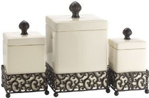Attractive Ceramic Canisters in a Metal Base | Kitchen Canister Sets | Scoop.it