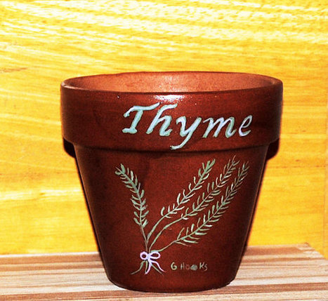 Herb Pot 4 Inch Red Clay Terracotta Hand Painted Thyme Made to Order | Antiques n' Oldies | Scoop.it