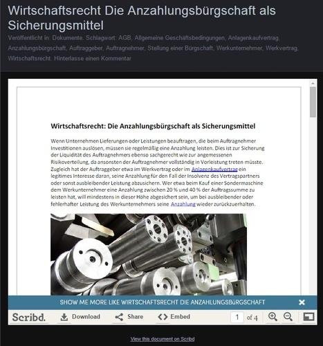 Wirtschaftsrecht Die Anzahlungsbürgschaft als Sicherungsmittel | Dr. Marius Breucker | Scoop.it