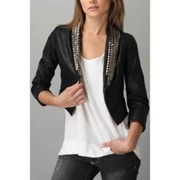 Angela Desginer Leather Jackets | Studded collar Designer Leather Jackets for Women |Short Sleev Leather jacket for Women | LeatherNXG Online | Scoop.it