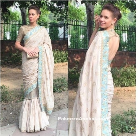 Actress Kalki Koechlin in ethnic Sabyasachi Gown Saree-PakeezaAnchal.com | Indian Fashion Updates | Scoop.it