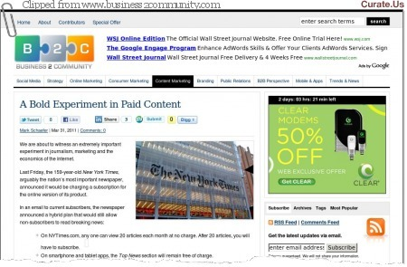 The New York Times Will Offer Paid Content | Internet Billboards | Curation, Social Business and Beyond | Scoop.it
