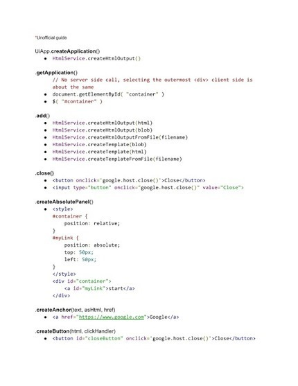Some minimal UiApp to HtmlService conversions...… | Google Apps Script | Scoop.it
