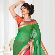 Pink & Green Chiffon Saree | Strollay.com | Scoop.it