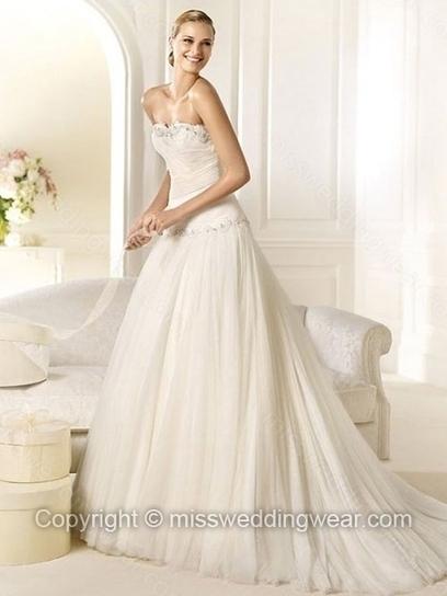 Princess Sweetheart Tulle Sweep Train Beading Wedding Dresses   2014 wedding dress online   Scoop.it