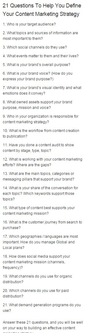 21 Questions To Help You Define Your Content Marketing Strategy | B2B Marketing Insider | Digital Marketing Ecosystems | Scoop.it