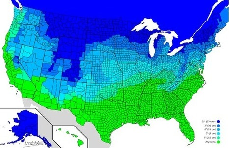 Map: 'How Much Snow It Typically Takes to Cancel School in the U.S.' | World Geography in the classroom | Scoop.it