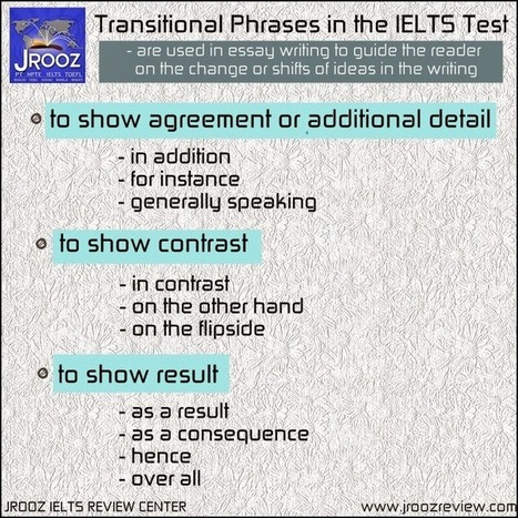 Transitional Phrases in the IELTS Test ~ IELTS Exams Tips | English Grammar Proficiency Training | Scoop.it