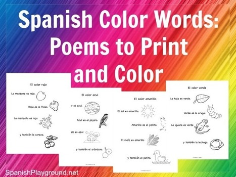 Spanish Color Words: Rhymes to Print and Color - Spanish Playground | Preschool Spanish | Scoop.it