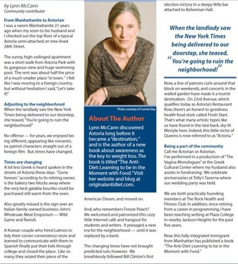 "The Original Anti-Diet: A Manhattan Transplant by Lynn McCann is Featured in ""Astoria Life"" November's Edition | Anti-Diet | Scoop.it"