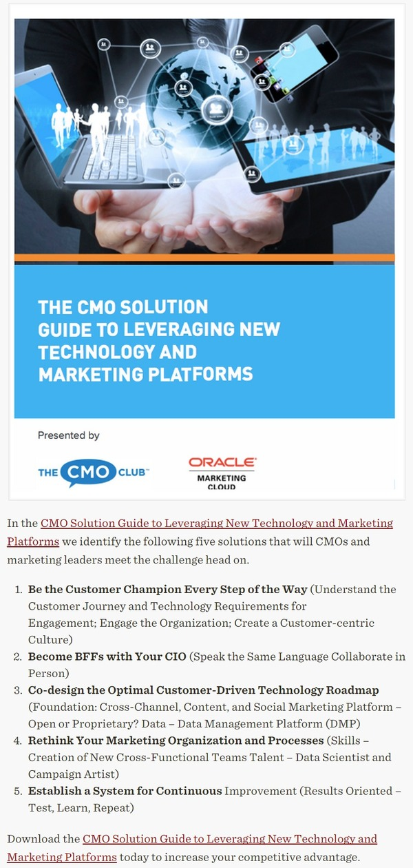 [FREE REPORT] The CMO Technology Conundrum And How To Solve It | Oracle Marketing Cloud | The Marketing Technology Alert | Scoop.it