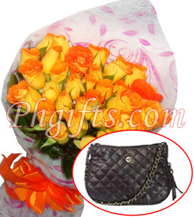 A dozen of fresh long stemmed roses bouquet with sophies bag neo fenouil can use for evenings out perfect for your wife this Mothers Day - Ladies_Bag#007 | MOTHER'S DAY GIFT IDEAS | Scoop.it